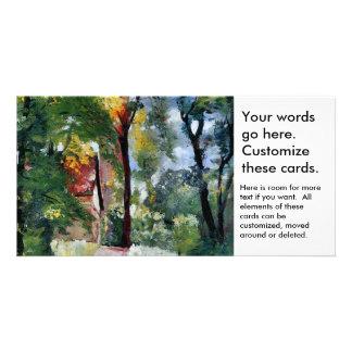 Paisaje impresionista del sol de la mañana de la tarjetas fotográficas personalizadas