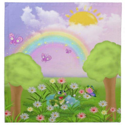 paisaje infantil servilleta imprimida