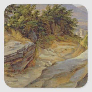 Paisaje italiano de la montaña, c.1824 calcomania cuadradas