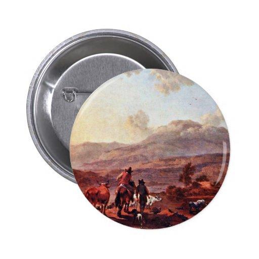 Paisaje italiano de la tarde de Berchem Nicolaes Pin Redondo 5 Cm