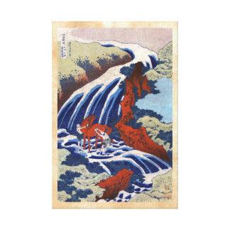 Paisaje japonés fresco de la cascada del vintage d impresiones en lona