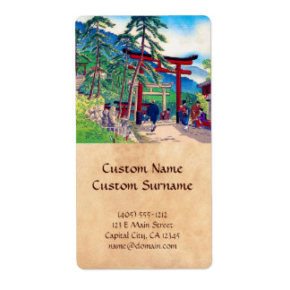 Paisaje japonés fresco de la gente de la puerta de etiqueta de envío