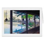Paisaje japonés fresco de la montaña del lago del tarjeta pequeña