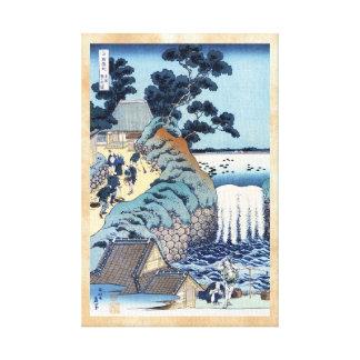 Paisaje japonés fresco de la playa del ukiyo-e del lona envuelta para galerías