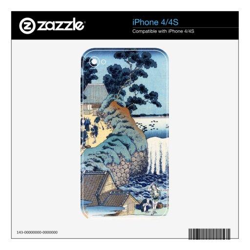 Paisaje japonés fresco de la playa del ukiyo-e del iPhone 4 skins