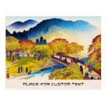 Paisaje japonés fresco del puente de Fall River de Postales