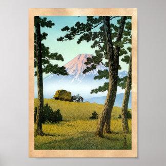 Paisaje japonés oriental fresco el monte Fuji del  Poster