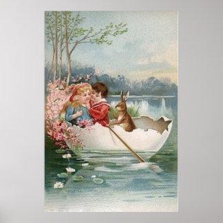 Paisaje joven de los pares del barco del conejito  póster
