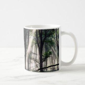 Paisaje mágico del bosque taza básica blanca