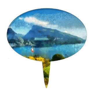 Paisaje maravilloso del lago en Suiza Decoraciones Para Tartas