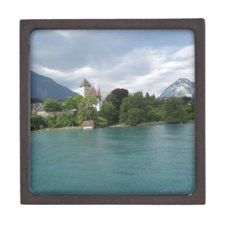 Paisaje maravilloso en Suiza en el lago Thun Caja De Joyas De Calidad