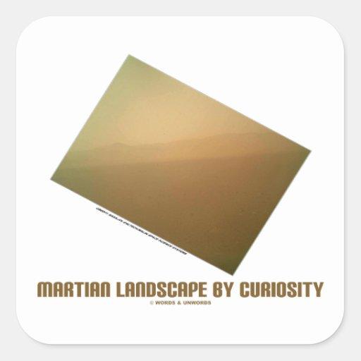 Paisaje marciano por la curiosidad (paisaje de pegatina cuadrada