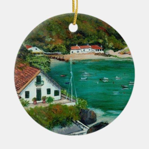 Paisaje marino adorno navideño redondo de cerámica