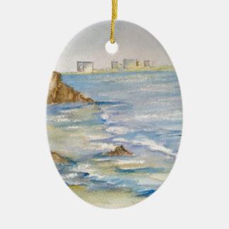 Paisaje marino adorno ovalado de cerámica