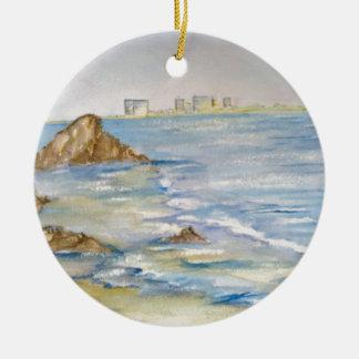 Paisaje marino adorno redondo de cerámica