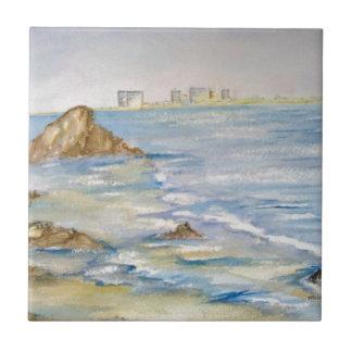 Paisaje marino azulejo cuadrado pequeño