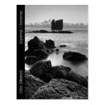 Paisaje marino blanco y negro de Azores Postal