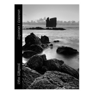 Paisaje marino blanco y negro de Azores Tarjetas Postales