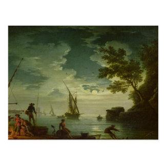 Paisaje marino claro de luna 1772 postales