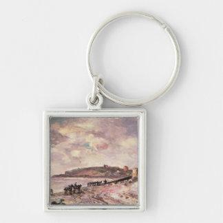 Paisaje marino con los potros en la playa llavero cuadrado plateado