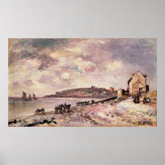 Paisaje marino con los potros en la playa póster