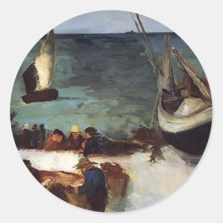 Paisaje marino de Eduardo Manet- en Berck, barcos Pegatina Redonda