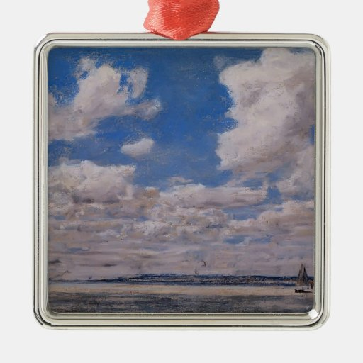 Paisaje marino de Eugene Boudin- con el cielo Adorno Cuadrado Plateado