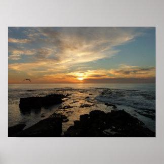 Paisaje marino de la puesta del sol I California Póster