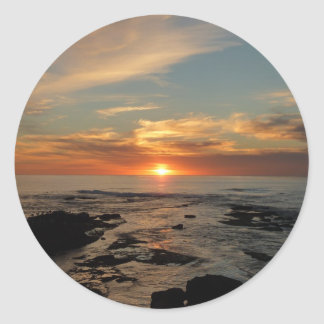 Paisaje marino de la puesta del sol II California Pegatina Redonda