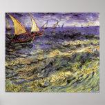 Paisaje marino de Van Gogh en Saintes Maries, arte Poster