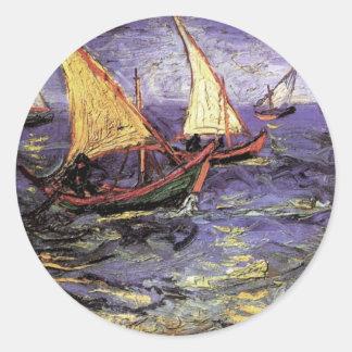 Paisaje marino de Van Gogh en Saintes Maries, arte Pegatina Redonda
