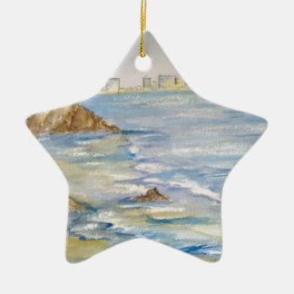 Paisaje marino adorno de cerámica en forma de estrella
