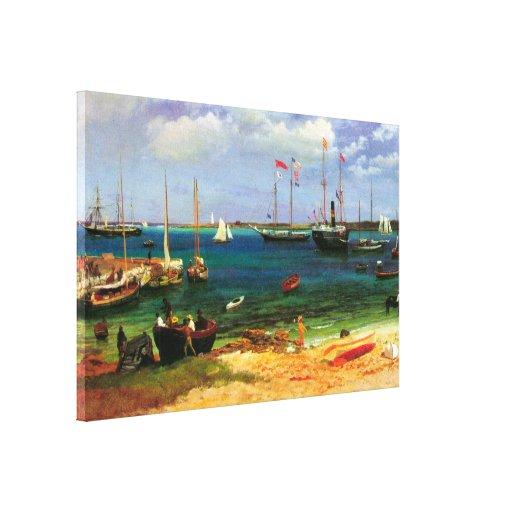 Paisaje marino del vintage, puerto de Nassau por Impresión En Lona Estirada