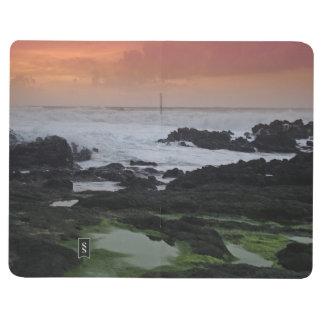 Paisaje marino en la puesta del sol cuadernos