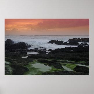 Paisaje marino en la puesta del sol impresiones