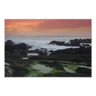 Paisaje marino en la puesta del sol impresion fotografica