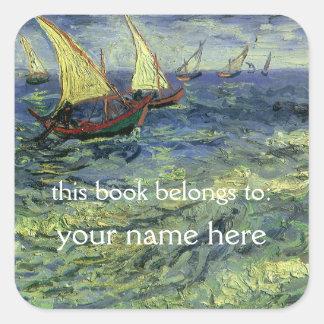 Paisaje marino en Saintes-Maries; Bookplate de Van Pegatina Cuadrada