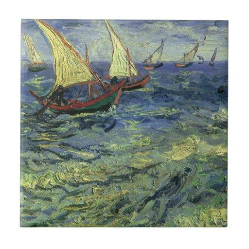 Paisaje marino en Saintes Maries de Vincent van Azulejo Cuadrado Pequeño