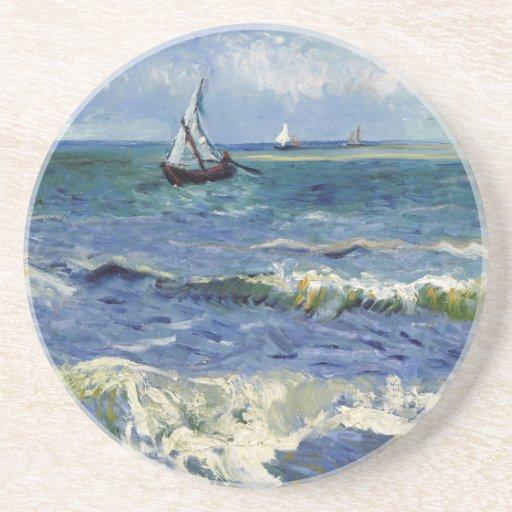 Paisaje marino en Saintes Maries - Vincent van Gog Posavasos De Arenisca