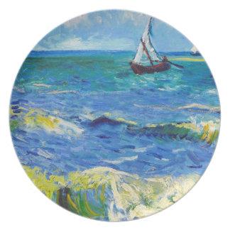 Paisaje marino en Saintes-Maries Vincent van Gogh Platos De Comidas
