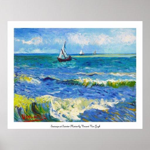 Paisaje marino en Saintes-Maries Vincent van Gogh Póster