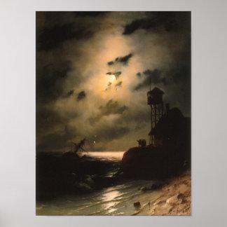 Paisaje marino iluminado por la luna con el naufra posters