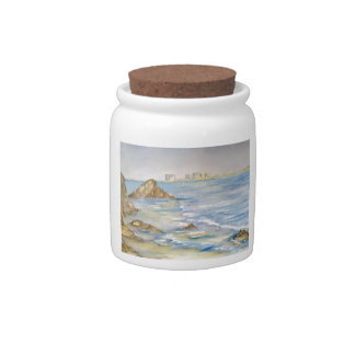 Paisaje marino jarras para caramelos