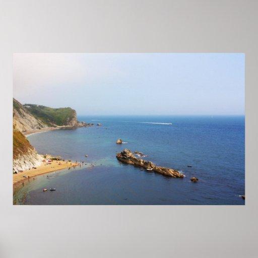 Paisaje marino jurásico de la costa póster