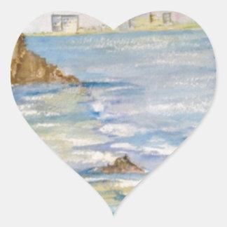 Paisaje marino pegatina en forma de corazón
