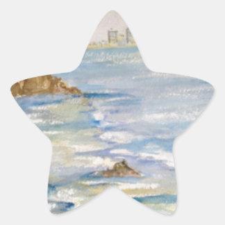 Paisaje marino pegatina en forma de estrella