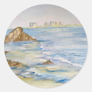 Paisaje marino pegatina redonda