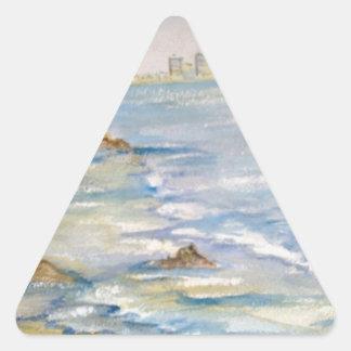 Paisaje marino pegatina triangular