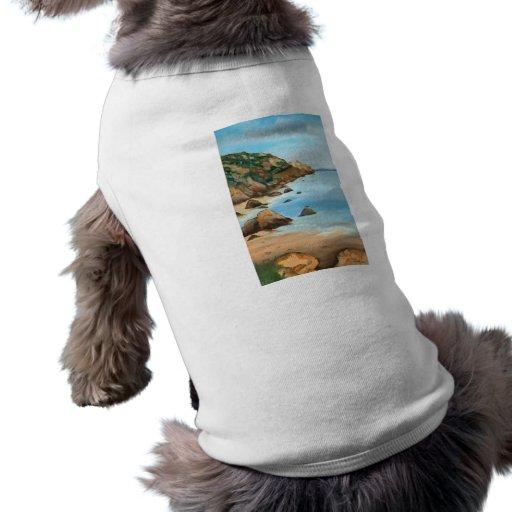 Paisaje marino playera sin mangas para perro