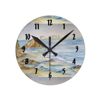 Paisaje marino reloj redondo mediano